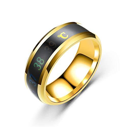 VIMOER Romantischer Hochzeit/Lovers Stimmungsring Smart Thermometer Ring Temperatur Messen Paarring Kreative Monitor Stimmungsring