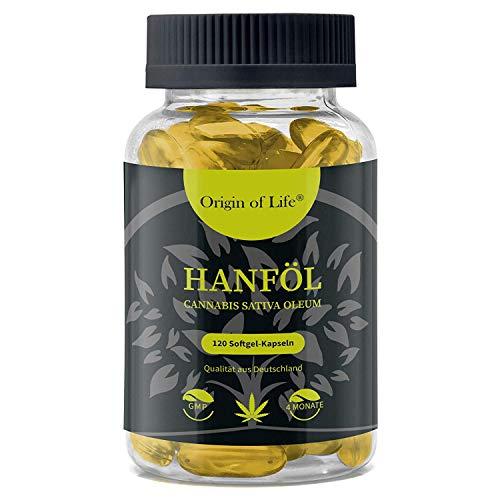 HANFÖL Kapseln - hochdosiert & kaltgepresst | Cannabis Sativa | echte 1000mg je Kapsel | Laborgeprüft | pflanzliche Omega 3 6 + 9 - Hanfsamenöl | Hergestellt in Deutschland