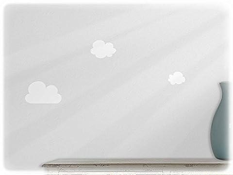 Wall art sticker clouds - set of 3! --10-white