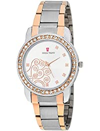 Swiss Trend Crystal Studded Luxury SteelRose Stainless Steel Women's Wrist Watch