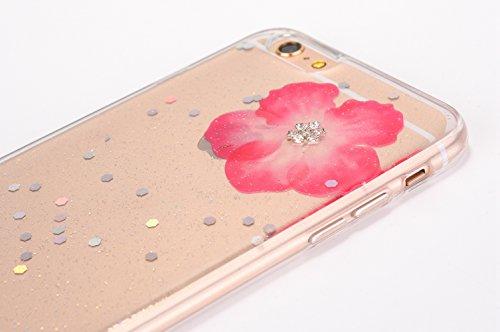 Cover iPhone 6 / 6S Plus - Custodia in Glitter Silicone TPU - Surakey Belle iPhone 6S Plus Custodia Brillantini Fiore Bling Diamante Trasparente Slim Ultra Sottile Gomma Morbida Gel Case Antigraffio A Rosa
