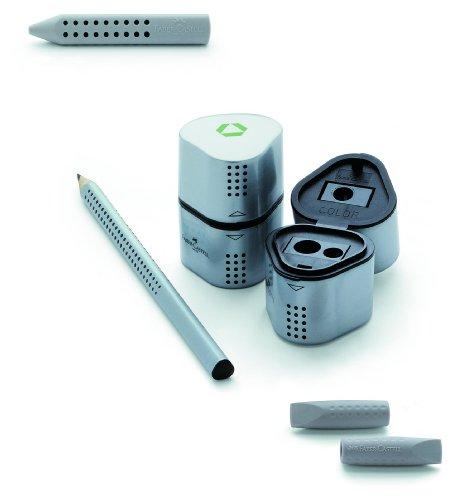 Faber-Castell Grip 2001 – Set de escritura (con 12 lápices HB 117000 Grip 2001, 1 sacapuntas triple 183800 Grip 2001 y una tapa borrador 2 en 1 187000 2001)
