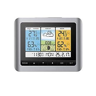 Konesky Estación meteorológica inalámbrica, Termómetro de Temperatura Barómetro Digital Interior Temperatura Exterior Humedad con Sensor Exterior Reloj Despertador con presión barométrica
