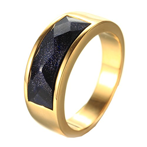 HIJONES Herren Edelstahl-blauer Himmel-Edelstein SandStone Ringe-Hochzeits-Band-Gold Größe 62 (Augen Des Himmels Kostüme)