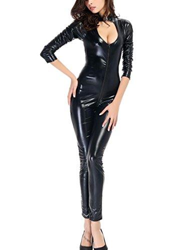 Kostüm Open Cup - DuuoZy Frauen reizvolle Kunstleder Open Cup Catsuit Kostüm Wet Look Front-Reißverschluss-Overall-Clubwear , black , m