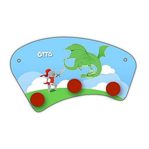 Wand-Garderobe mit Namen Otto und Motiv mit Ritter und Drache für Jungen | Garderobe für Kinder | Wandgarderobe
