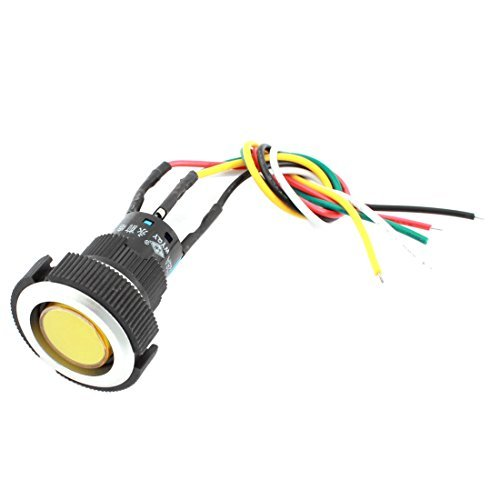 22mm Plattenmontage SPDT Locking Yellow Light Push Button Switch DC 24V