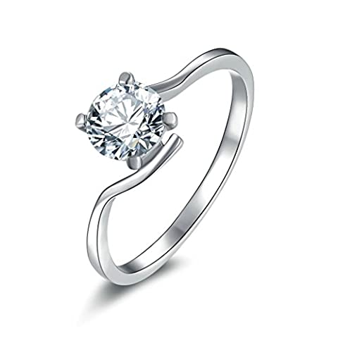 AMDXD Jewelry Sterling Silver Women Customizable Rings 4-Prong Set Round Twist Thin Ring Size N 1/2