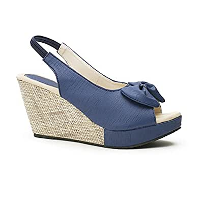 Wellworth Wedge Heel Casual Blue Sandal