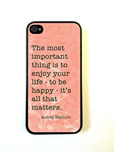 Shawnex Audrey Hepburn Quote Enjoy Life Coral ThinShell Case Protective iPhone 5 Case iPhone 5S Case