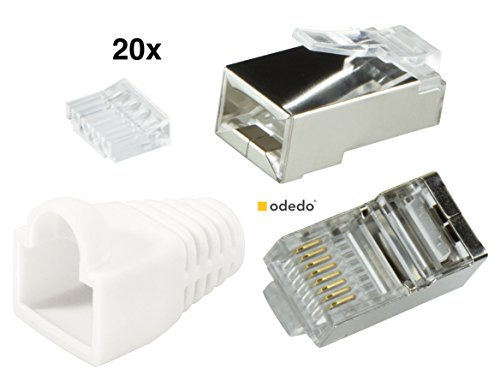 Crimp Rj-45-stecker (odedo® 20er Pack Crimpstecker weiß CAT6 Metall geschirmt mit Einfädelhilfe und Knickschutz, Crimp Stecker Netzwerk Lankabel Netzwerkstecker RJ45 Kat6, Modular Plug white shielded Connector with Insert)