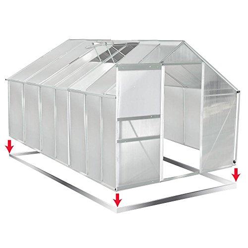 Aluminium Gewächshaus mit Stahlfundament 17,2 m³ Alu Gartenhaus Treibhaus 430x250x205cm 6mm Platten