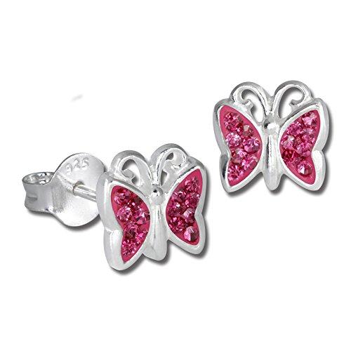 Teenie-Weenie Ohrringe 8mm Kinder Silber Ohrstecker Schmetterling rosa SDO094A