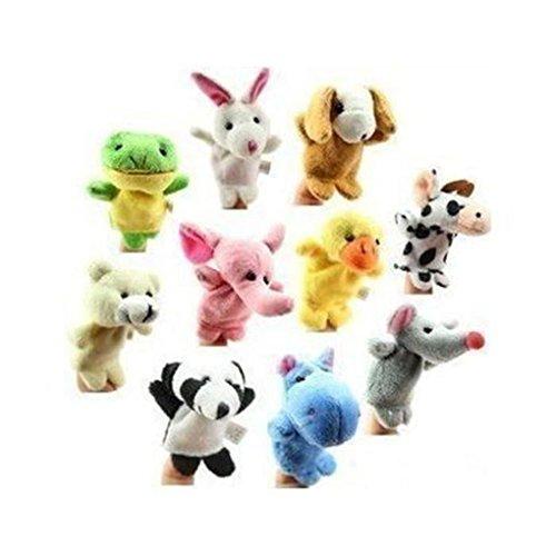Marionetas de dedo de animales de Lumanuby, de terciopelo, juego de 10 unidades
