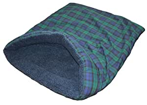 Snuggle Bag Dog Bed, Terrier Tunnel - Large Black Watch Tartan