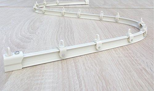 Bett-rail-system (Mini-Vorhangschiene, von Hand biegbar, weiß, Komplett-Set, Länge 500 cm)