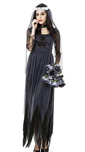schöne Fashion Frauen Deluxe Victorian Geisterbraut Kostüm black -