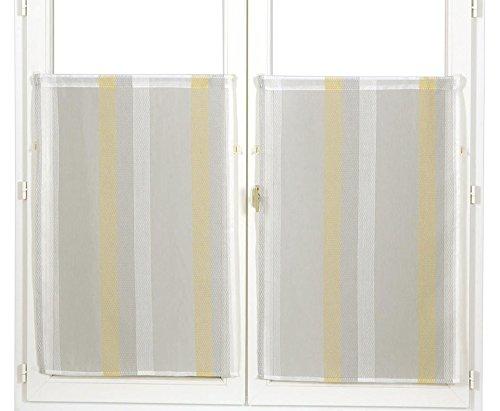 Homemaison–coppia di piccoli tende in organza a righe jacquard, poliestere, giallo, 90x 60cm