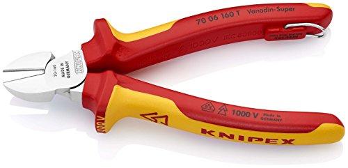 KNIPEX 70 06 160 T Seitenschneider verchromt isoliert mit Mehrkomponenten-Hüllen, VDE-geprüft; mit integrierter isolierter Befestigungsöse zum Anbringen einer Absturzsicherung 160 mm