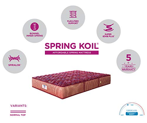 Peps Springkoil Bonnell 6-inch Single Size Spring Mattress (Maroon, 72x36x06) With Free Pillow Image 6