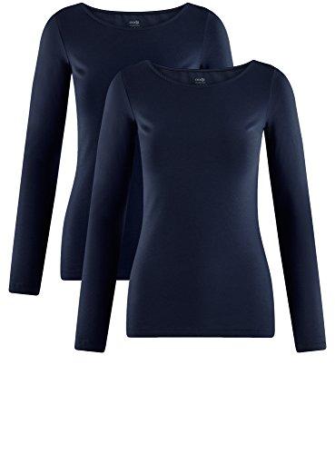 oodji Collection Damen Langarmshirt (2er-Pack) Blau (7900N)