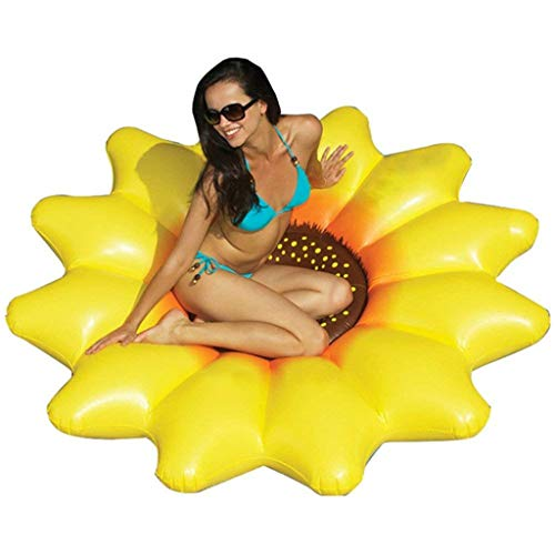 LIJUEZL 180cm Inflatable Sonnenblumen-Pool Schwimmen-Outdoor Beach Pool Inflatable Floating Row for Adult & Kids Water Toys