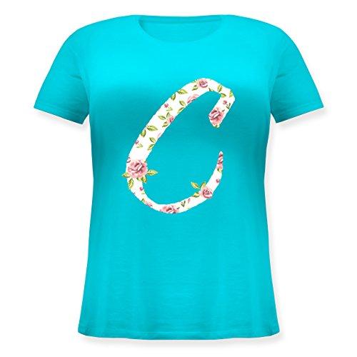 Anfangsbuchstaben - C Rosen - Lockeres Damen-Shirt in großen Größen mit Rundhalsausschnitt Türkis