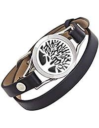 Everlead unisex braccialetto diffusore di oli essenziali per aromaterapia  fragranza medaglione in acciaio INOX con 0faf943917a