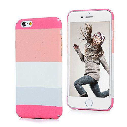 Badalink iphone 6S 6 Hülle Voll-Fenster Schutzhülle Bunt PC Cover Handyhülle Hardcase Schale Pink Rosa Breite Streifen Muster Hülle Pink Rosa Breite Streifen