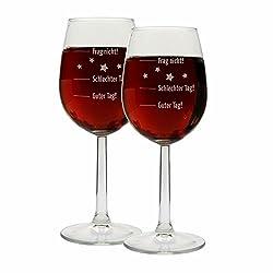 """SET 2 Stück Weingläser Motiv """"Guter Tag, Schlechter Tag, Frag nicht!"""" Sie haben noch kein Geschenk für einen echten Wein-Liebhaber? Denn ist dieses originelle Stimmungsglas genau die richtige Geschenkidee, ob zu Weihnachten oder zum Geburtstag! Das S..."""