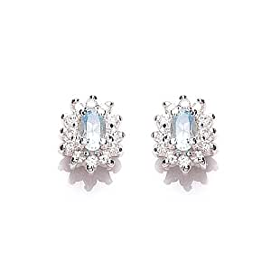 Tower Jewellery Sky Blue Topaz and Cubic Zirconia Cluster Sterling Silver Stud Earrings