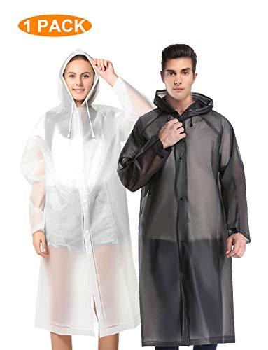 Likorlove Regenponcho für Damen Herren, Erwachsene Wiederverwendbarer Eva Regenmantel, Wasserdicht Atmungsaktiv Regencape (Transparent, X-Large) -