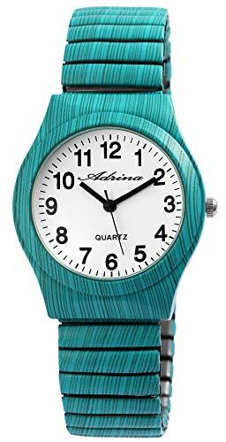 ADRINA Damenuhr Weiß Türkis Holz-Optik Analog Quarz Metall Zugband Arabische Ziffern Armbanduhr