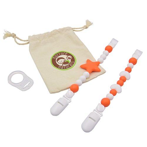 Mädchen/Jungen Schnullerkette - (2er Pack) Schnullerhalter aus Silikon - Lustige, farbige und BPA - freie Silikonring Adapter (Orange Set)