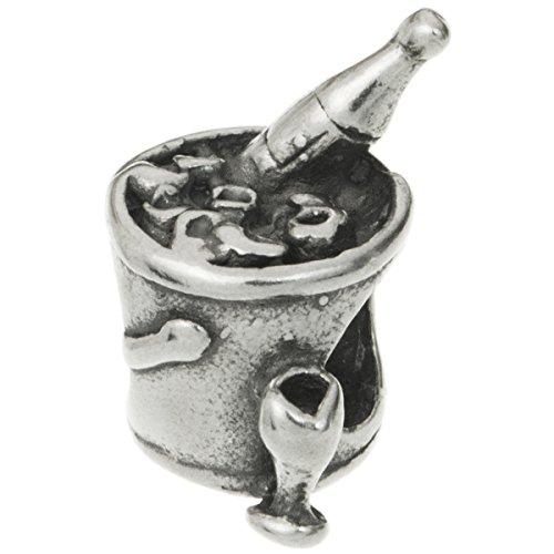 925 Sterling Silber Champagner Wein Getränke Eiseimer Perle Perle für europäische Charm-Armbänder