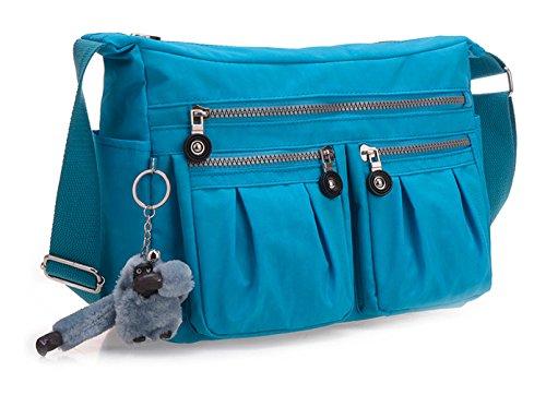 Keshi Nylon neuer Stil Damen Handtaschen, Hobo-Bags, Schultertaschen, Beutel, Beuteltaschen, Trend-Bags, Velours, Veloursleder, Wildleder, Tasche Himmelblau