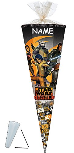 Unbekannt passende 3D Bänder - Schleife - für Schultüte - Star Wars  Rebels  - 70 / 85 cm incl. Namen - Zuckertüte ALLE Größen - mit / ohne Kunststoff Spitze Spitze.. -