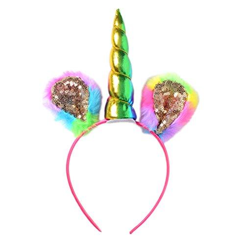 STOBOK Einhorn Haarreif Horn Stirnbänder Haarband mit Pailletten Kopfschmuck für Mädchen Kinder Halloween Cosplay Kostüm Party Dekoration
