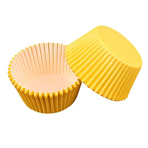 FiedFikt Backförmchen Cupcake Papier Cupcake Liner Muffin Pappbecher 100 Stück gelb -