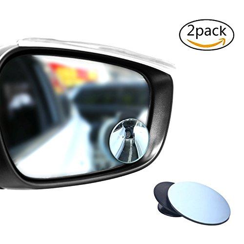 2Stück Blind Spot Spiegel, 360° drehen verstellbar rund rahmenlose HD Glas konvex Maximieren Rückspiegel -
