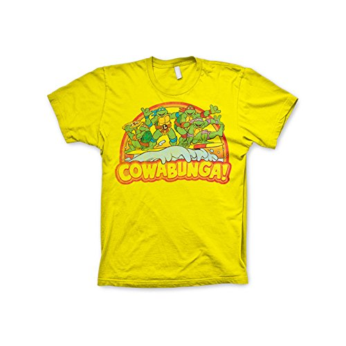 Officially Licensed Merchandise TMNT - Cowabunga T-Shirt (Yellow), Small