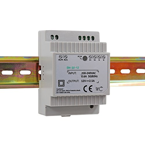Hutschienen Netzteil LED Trafo 230VAC / 12V DC 2.5A 30W; Konstantspannung DIN-Schiene Netzteil für LED Produkte 12V DC; Schaltnetzteil Hutschienennetzteil