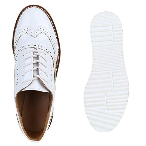Atam Branco Metálica Pintura Brogues Senhoras Semi Sapatos Plataforma n1Y7qn