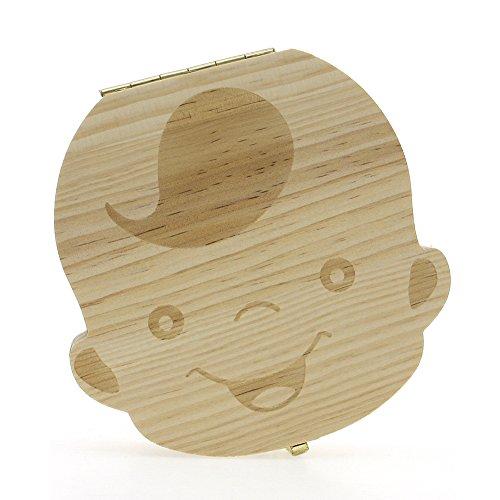 CALISTOUK Baby Tooth Box Organizer, Milk Teeth Save Storage Box for Baby Boy Wood