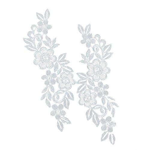 ELECTROPRIME® 6X Lace Trims Applique Patches Flower Wedding Dress Garment Accessories White