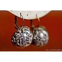 Pendientes con flores secas naturales de lavanda - Joyas boho vintage botánico semiesfera de vidrio 20mm - Regalos originales para mujer - Aniversario - Regalo de Navidad