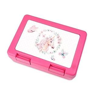 Brotdose in pink mit Einhorn und Schmetterlingen