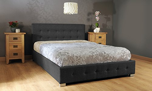 Comfy Living 5ft Kingsize Fabric Ottoman Storage Bed in Black