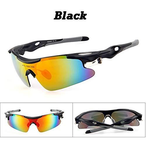 Hot Sportbrille Polarisierte Fahrrad Reiten Sport Sonnenbrille Mit 5 Bruchsichere Linse New Wandern Radfahren Brillen (Color : Black)