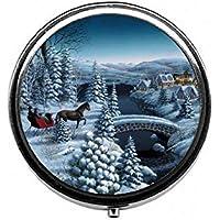 LinJxLee Horse Snow Portable Round Pill Case Pill Box Medicine Box Medicine Tablet Vitamin Organizer for Purse... preisvergleich bei billige-tabletten.eu